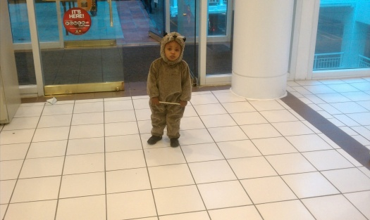 He had two costumes this year. I can't remember if this was a platypus. He was 2.