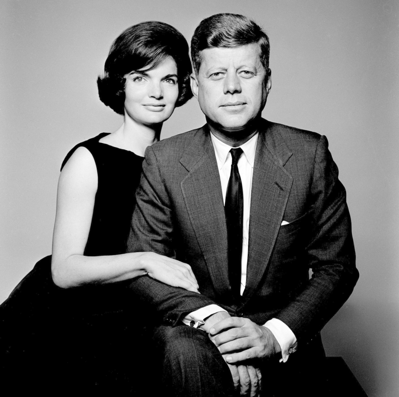 President John F. Kennedy and his wife Jackie O'.