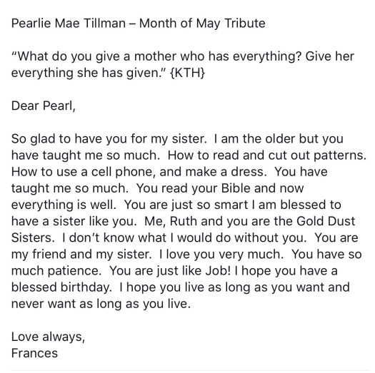 i believe my sister keyna put a presentation of letters written together by her children friends and families for one of mommas many birthdays